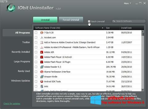 Capture d'écran IObit Uninstaller pour Windows 8