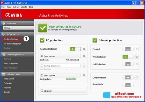 Capture d'écran Avira pour Windows 8